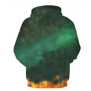 DBZ Black Goku Burning Destruction Fire Cool Trendy Pocket Hoodie - Saiyan Stuff - 2