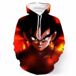 DBZ Black Goku Danger Fire Smile Potala Fusion Cool Trendy Design Hoodie - Saiyan Stuff