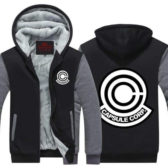 DBZ Capsule Corp Black & Gray Stylish Zip Up Hooded Jacket