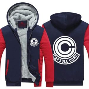 DBZ Capsule Corp Logo Red And Blue Zip Up Hooded Jacket