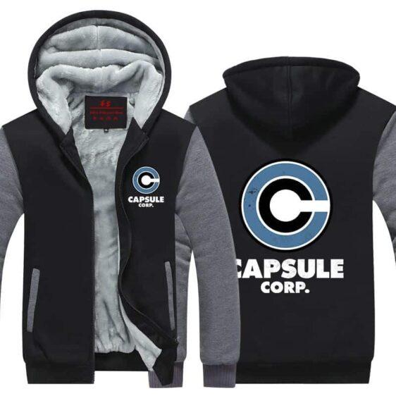 DBZ Capsule Corp Stylish Gray & Black Zip Up Hooded Jacket