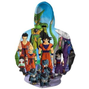 DBZ Cell Games Saga Heroes Characters Zip Up Hoodie - Saiyan Stuff