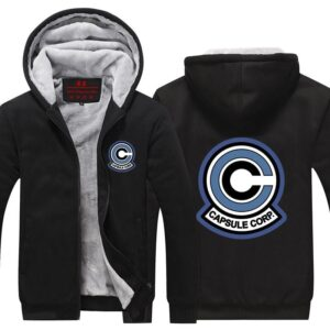 DBZ Classic Capsule Corp Logo Black Zip Up Hooded Jacket