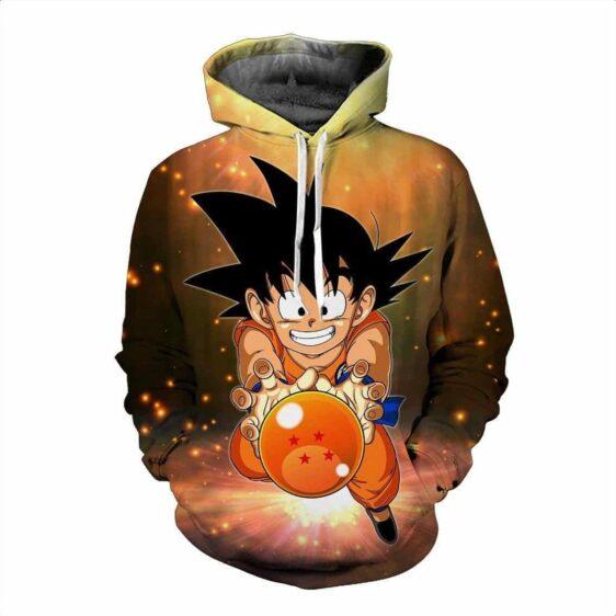 DBZ Cute Goku Kid Catch Fifth Dragon Ball Action Manga Pocket Hoodie