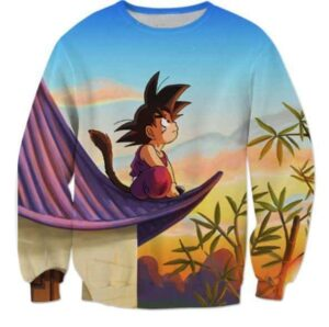 DBZ Cute Kid Goku Sitting Sky Full Print Sweatshirt - Saiyan Stuff