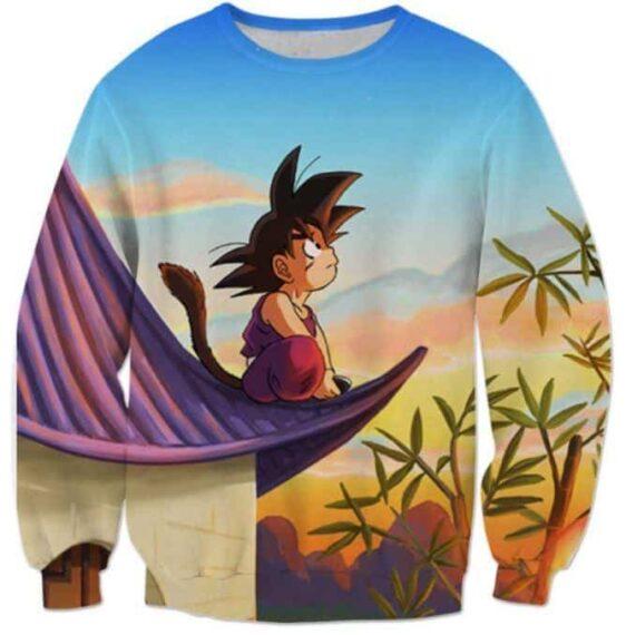 DBZ Cute Kid Goku Sitting Sky Full Print Sweatshirt - Saiyan Stuff