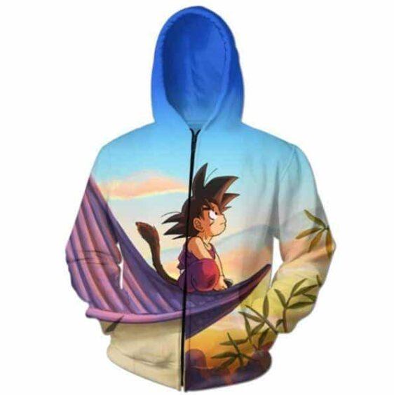 DBZ Cute Kid Goku Sitting Sky Full Print Zip Up Hoodie - Saiyan Stuff