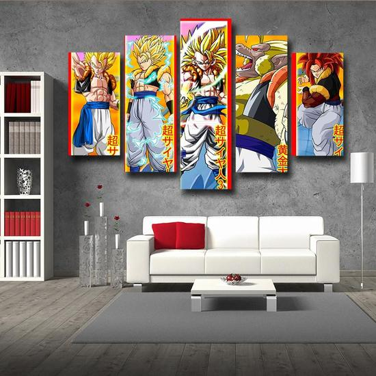 DBZ Gogeta All Form Super Saiyan 5pc Wall Art Decor Posters Canvas Prints