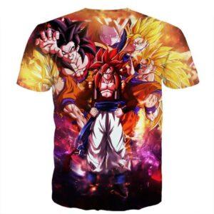 DBZ Gogeta Goku Vegeta Super Saiyan Powerful Lightning Thunder Design T-Shirt - Saiyan Stuff - 2