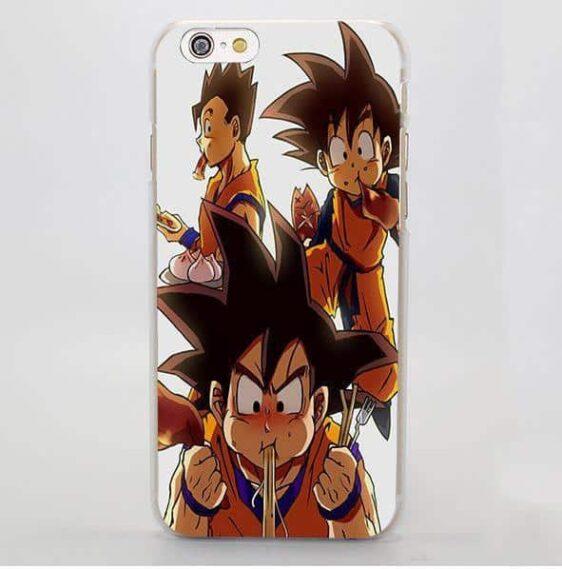 DBZ Gohan Goten Eating Funny Cute Theme Design iPhone 4 5 6 7 Plus Case