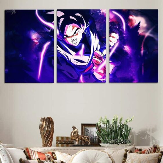 DBZ Goku Black Super Saiyan Style 3pc Wall Art Decor Canvas Prints