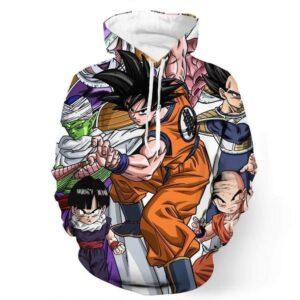 DBZ Goku Fighting Stance Gohan Piccolo Krillin Vegeta Frieza Color Hoodie