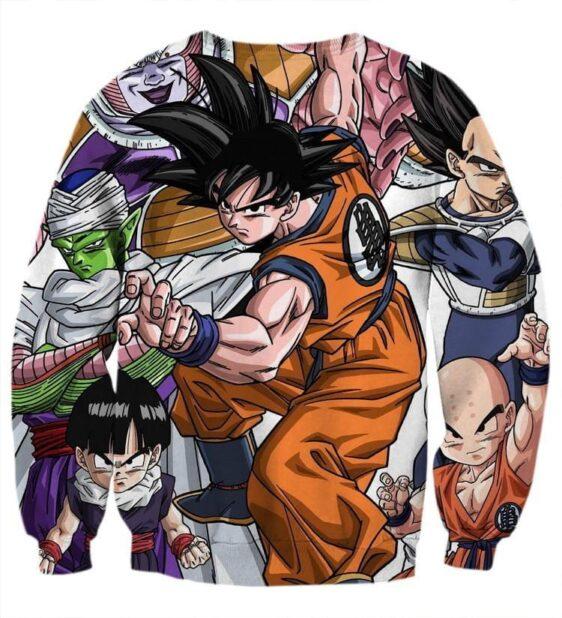 DBZ Goku Fighting Stance Gohan Piccolo Krillin Vegeta Frieza Color Sweatshirt