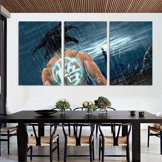 DBZ Goku Go Symbol Kanji Rain 3pc Wall Art Decor Canvas Prints