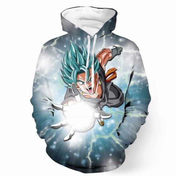 DBZ Goku God Angry Attack Saiyan Blue SSGSS Potara Design Hoodie - Saiyan Stuff - 1