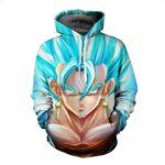 DBZ Goku God Saiyan Blue SSGSS Potara Fusion Design Pocket Hoodie - Saiyan Stuff
