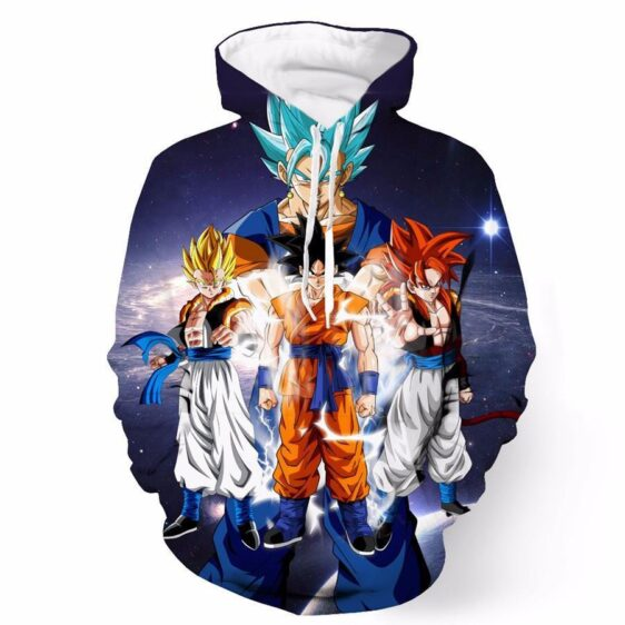 DBZ Goku Gogeta Gohan Super Saiyan Blue God Potala Thunder Galaxy Design Hoodie - Saiyan Stuff