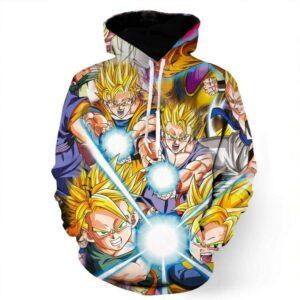 DBZ Goku Gohan Goten Super Saiyan Kamehameha Color Design Hoodie