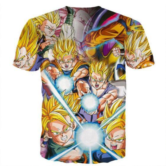 DBZ Goku Gohan Goten Super Saiyan Kamehameha Color Design T-Shirt