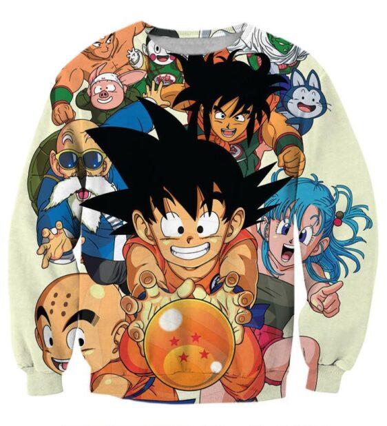 DBZ Goku Kid Master Roshi Bulma Krillin Chasing Dragon Ball Funny Sweatshirt