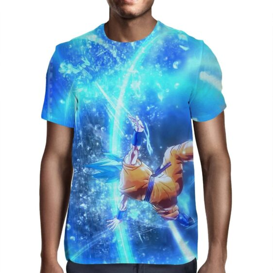 DBZ Goku SSGSS Saiyan God Blue Aura Blasting Streetwear T-Shirt