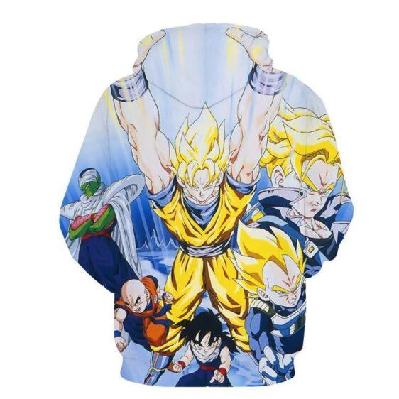 DBZ Goku Saiyan Spirit Bomb Vegeta Piccolo Gohan Trunks Vibrant Design Hoodie