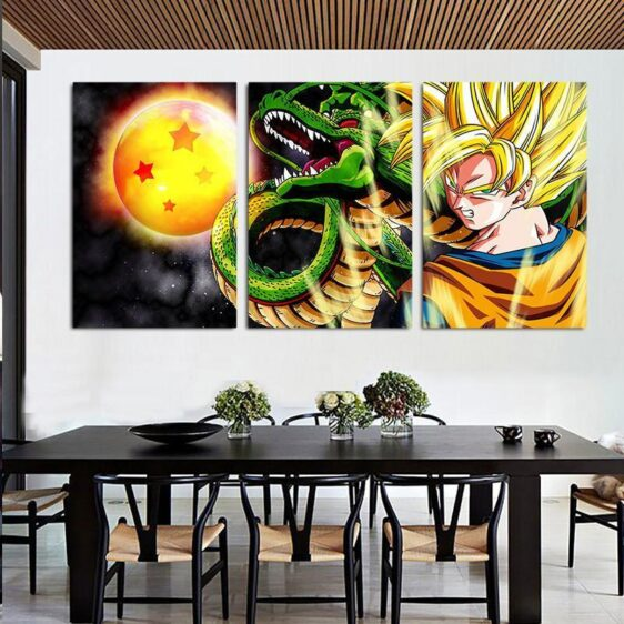 DBZ Goku Shenron Epic Style 3pc Wall Art Decor Posters Canvas Prints
