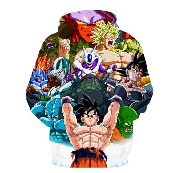 DBZ Goku Spirit Bomb Destroy Villains Cooler Broly Namek Vibrant Hoodie