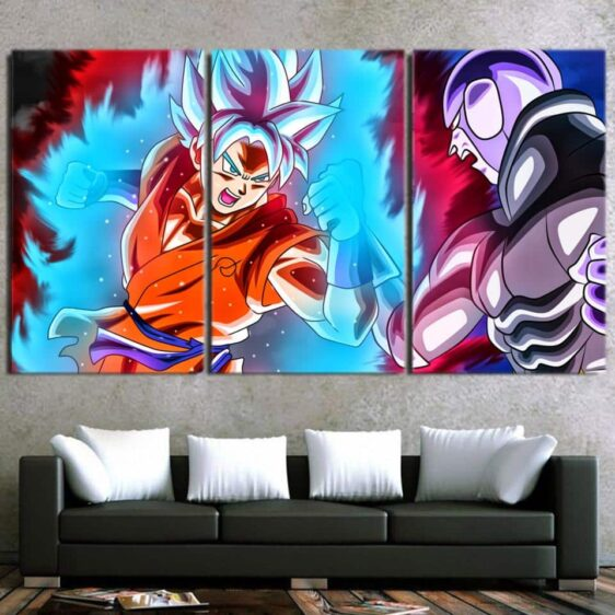 DBZ Goku Super Saiyan Blue Fighting Decor 3pc Canvas Prints