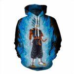 DBZ Vegito Super Saiyan God Blue SSGSS Burning Streetwear Design Hoodie