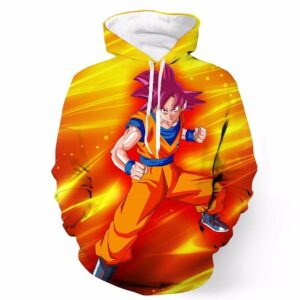DBZ Goku Super Saiyan God Pink Powerful Aura Trendy Design Hoodie - Saiyan Stuff