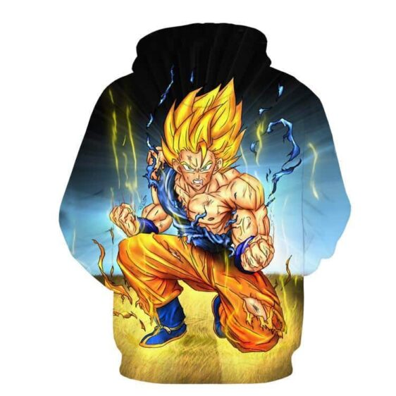 DBZ Goku Super Saiyan Thunder Power Damage Fight Cool Design Hoodie - Saiyan Stuff - 2