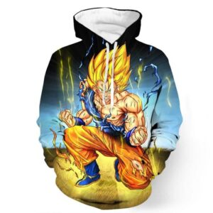 DBZ Goku Super Saiyan Thunder Power Damage Fight Cool Design Hoodie - Saiyan Stuff - 1