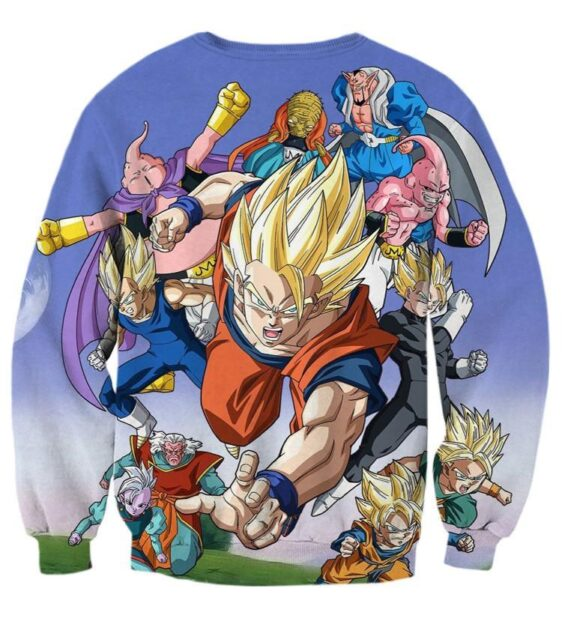 DBZ Goku Vegeta Gohan Saiyan Fight Villain Color Streetwear Style Design Sweatshirt