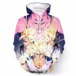 DBZ Goku Vegeta Majin Buu Power Thunder Earing Realistic Drawing Hoodie - Saiyan Stuff