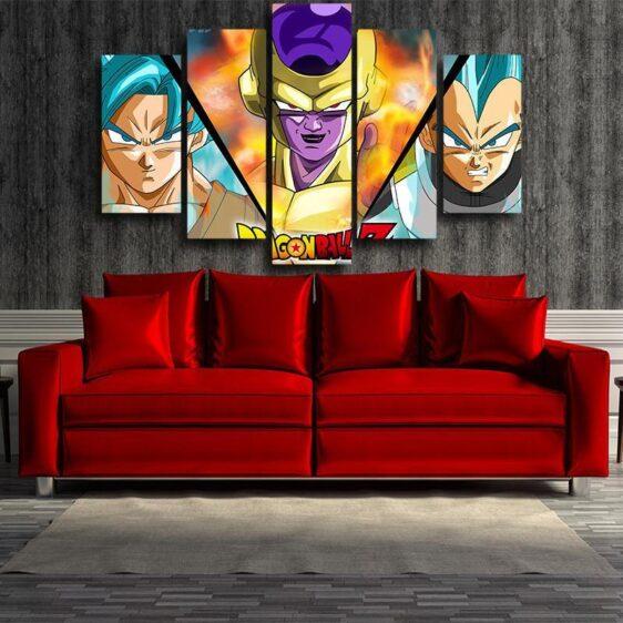 DBZ Goku Vegeta SSGSS Golden Frieza 5pc Wall Art Decor Posters Canvas Prints