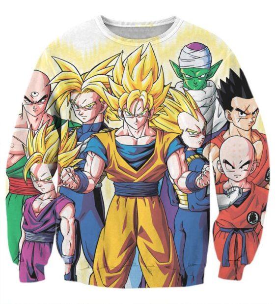 DBZ Goku Vegeta Super Saiyan Krillin Piccolo All Heroes Vibrant Design Sweatshirt