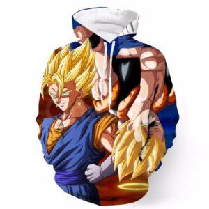 DBZ Goku Vegeta Super Saiyan Potara Fusion Upside Down Design Hoodie - Saiyan Stuff