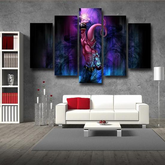 DBZ Kid Buu Spirit Ball Destruction Dark 5pc Canvas Prints Wall Décor
