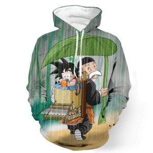 DBZ Kid Goku Master Roshi Cover Rain Cute Design Pocket Hoodie - Saiyan Stuff - 1