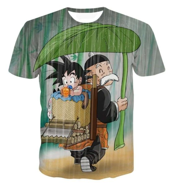 DBZ Kid Goku Super Saiyan Grandpa Gohan Cover Rain Cute Design T-Shirt