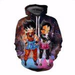 DBZ Maid Goku & Vegeta Space Galaxy 3D Funny Pocket Hoodie - Saiyan Stuff - 1