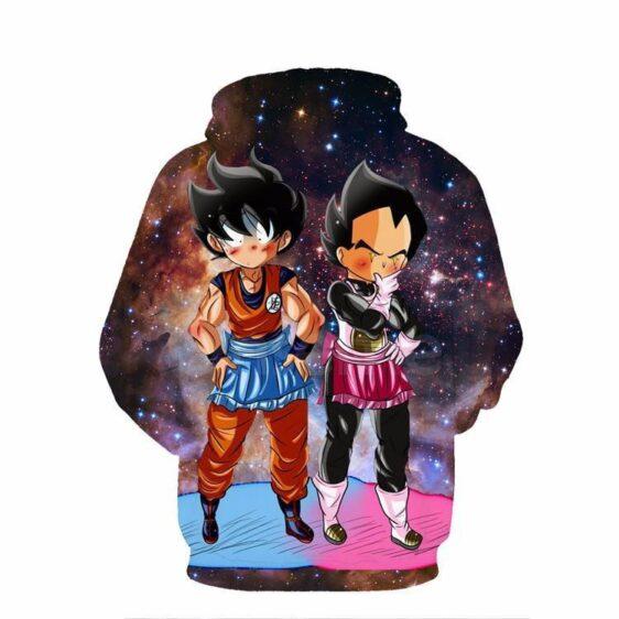 DBZ Maid Goku & Vegeta Space Galaxy 3D Funny Pocket Hoodie - Saiyan Stuff - 2