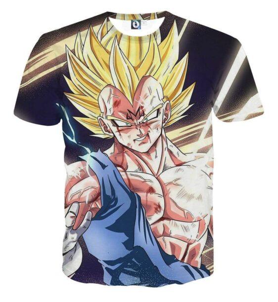 DBZ Majin Vegeta Saiyan Prince Fight Injure Manga Style Trending T-Shirt