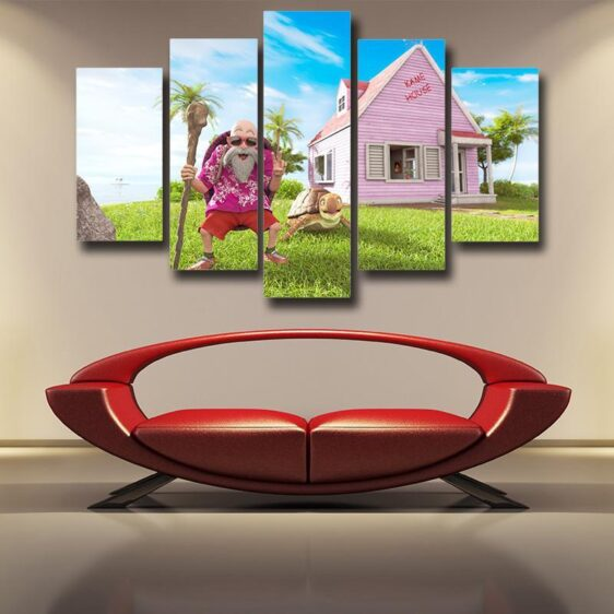 DBZ Master Roshi's Kame House Realistic Style 5pc Wall Art Decor Posters Canvas Prints
