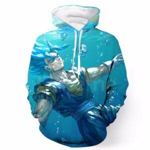 DBZ Relax Goku Ocean Earing Swim Cool Design  Pocket Hoodie - Saiyan Stuff