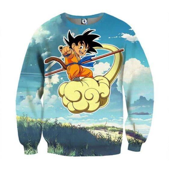 DBZ Saiyan Goku Kid Flying Nimbus Cloud Funny Print Sweatshirt