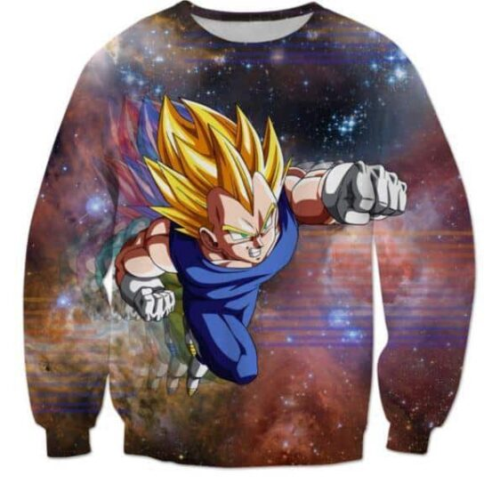 DBZ Super Saiyan Prince Vegeta Space Galaxy 3D Sweatshirt - Saiyan Stuff