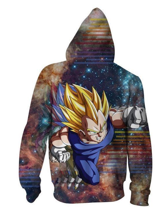 DBZ Super Saiyan Prince Vegeta Space Galaxy 3D Zip Up Hoodie - Saiyan Stuff