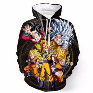 DBZ Super Saiyan Son Goku Savage Transformation Evolution Full Print Hoodie